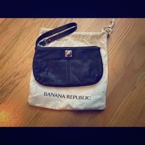 Banana Republic black leather wristlet